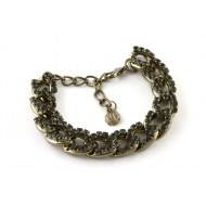Armbänder » ABGLIEDERKETTE BRONZE MIT STRASS IN BLACK DIAMOND